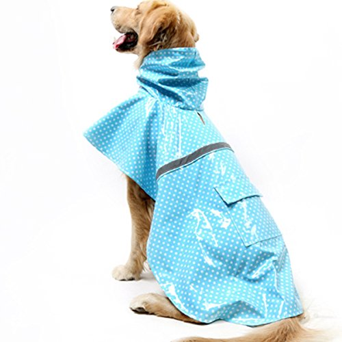 AWAMI Outdoor Dog Raincoat Adjustable Pet Coat Fashion Design Rain Jacket Dots Rainwear Dress Bright Patent Leather Puppy Waterproof with Reflective Strip in Rainy Day Blue XL (Raincoats With Hoods For Dogs compare prices)