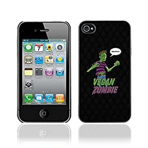 Colorful Printed Hard Protective Back Case Cover Shell Skin for Apple iPhone 4 / 4S ( Funny Vegan Zombie Grains LOL )