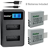 Kastar Battery 2 Pack and LCD Dual Charger for Eken PG1050 & Eken H8 Eken H8 Pro H8R Eken H9 Eken H9R Eko Full HD 1080p Wifi Eko HD 720p Eko Ultra HD 4K Wifi Evolveo MiniDVR DV Evolveo Sportcam A8