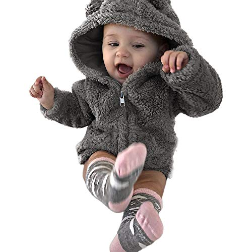 iYBUIA Winter Toddler Baby Boys Girls Fur Hoodie Warm Pure Coat Jacket Cute Thick Clothes(Gray,80)