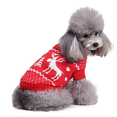 DENTRUN Christmas Sweater Dog Cat Vest Coat Winter Cold Weather Jacket Sweater,Pet Cats Jeans Cool Denim