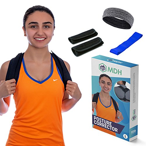 Posture Corrector for Women and Men | Comfortable Unisex Shoulder and Back Clavicle Brace, Prevent Hunching, Slouching and Maintain a Correct Form to Improve your Spinal Health and Reduce Pain (Large) by MDH