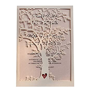 Laser Cut Wedding Invitation Tree Wedding Invite Rustic Wedding Invitations Vintage Wedding - Pack of 50