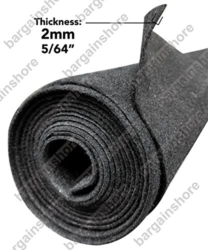 Polymat Audio 16 Ft By 3.75 Ft Wide Charcoal / Dark Grey Car Sub Woofer Speaker Box, Dj Enclosure Latex Backed Carpet and Trunk Liner 16'X3.75'