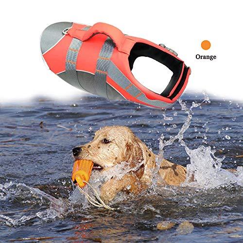 BOCHO Wave Rider's Reflective Dog LifeJacket, Super Buoyancy EVA Lining ,Adjustable Dog Safety Vest (X-Large, Orange) ()