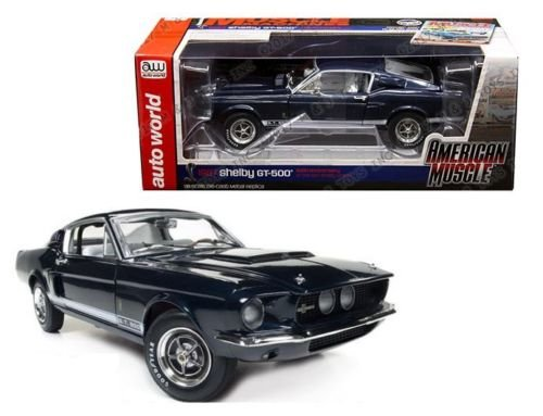 (New 1:18 AUTO WORLD AMERICAN MUSCLE COLLECTION - Blue 1967 Shelby GT-500 50th Anniversary Diecast Model Car By Auto World)