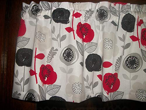Red Black Gray Flowers mid-century retro fabric decor treatment window topper curtain Valance 42