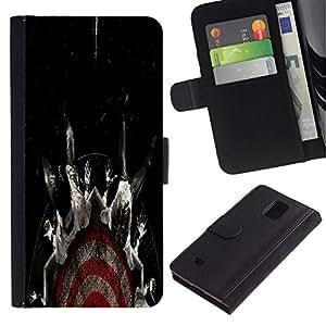 All Phone Most Case / Oferta Especial Cáscara Funda de cuero Monedero Cubierta de proteccion Caso / Wallet Case for Samsung Galaxy Note 4 IV // Target Fear Black Dark