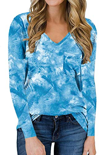 Hount Womens Casual Tie Dye Tops Autumn Long Sleeve V Neck Loose Cute Color Tunic Shirts with Pocket Blue Tie Dye Small