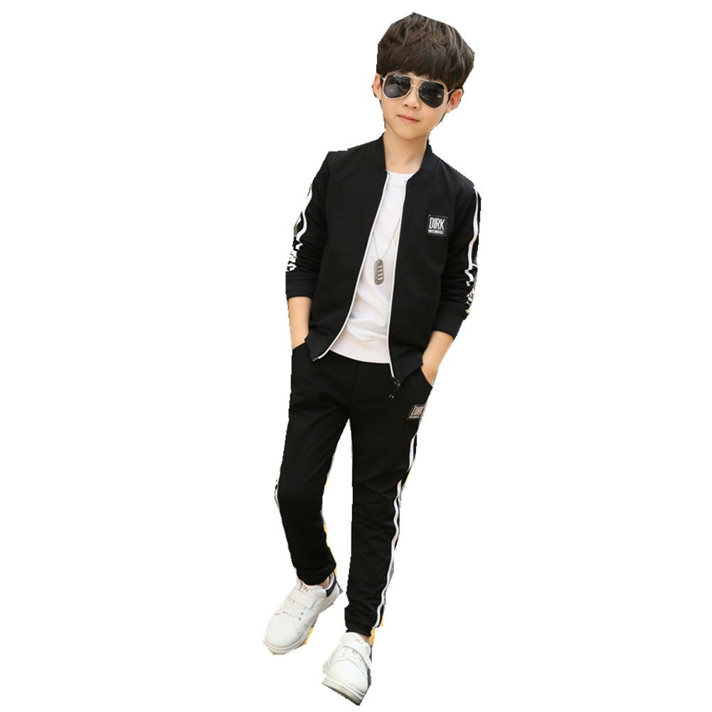 Pants FTSUCQ Boys Zip Front Sports Tracksuits Striped Shirt Jacket