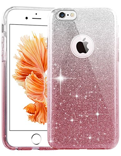TOZO Case for iPhone 6s SHINY SHADOW Series [Bling Crystal] Ultra Thin Sparkle Premium 3 Layer Hybrid Semi-transparent / Exact Fit / Soft Case for iPhone 6 (2014) / 6s - Gradient Pink