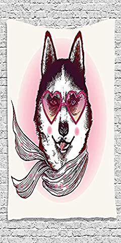 Cotton Microfiber Bathroom Towels Ultra Soft Hotel SPA Beach Pool Bath Towel Cartoon Collection Hipster Husky Dog with Heart Shaped Sunglasses and Scarf Fashion Animal Art Print Pink Cream - Garnet Sport Sunglasses