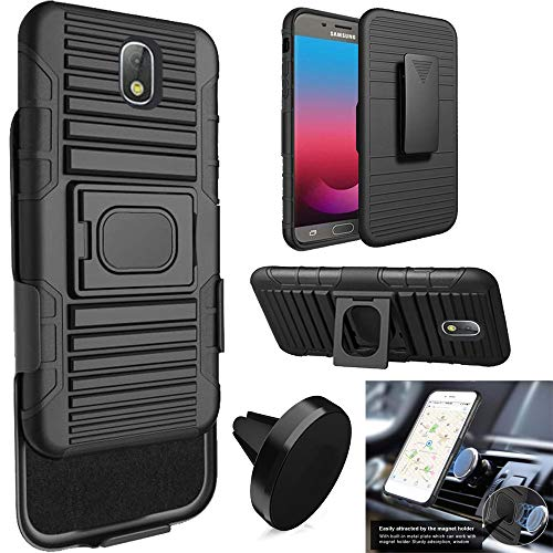 Phone Case Compatible Samsung Galaxy J7-Aero, J7-Aura, J7-Crown, J7-Top,  J7-V-2nd-Gen  Holster Build-in Metal Plate Cover Magnetic Car Mount  (Holster