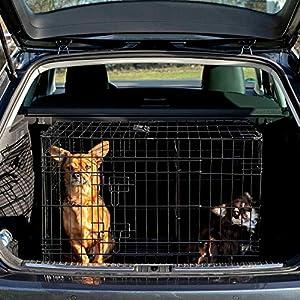 dibea DC00492 Jaula de transporte para perros y animales pequeños, alambre fuerte, plegable, 2 puertas, L