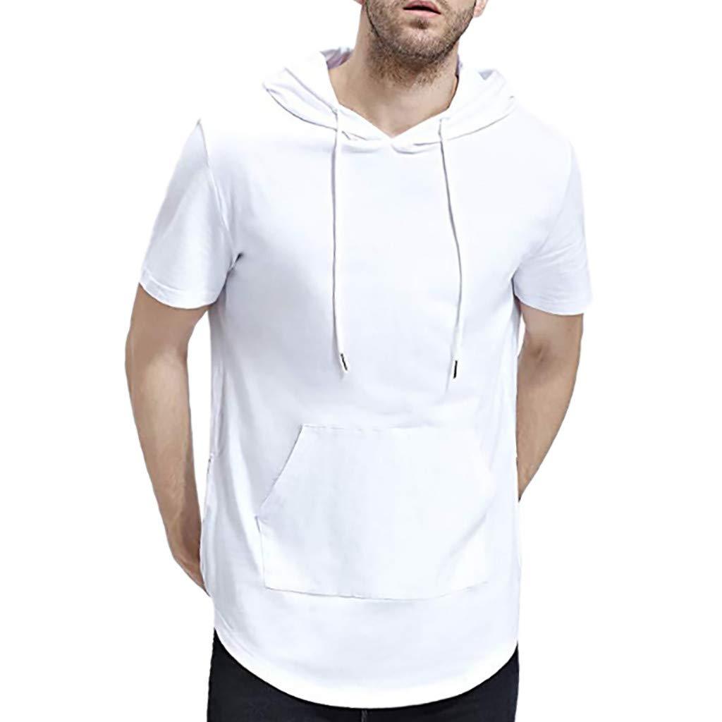 Pandaie Mens Blouse Shirts Mens Pure Color Zipper Pocket Hooded Casual Fashion Lapel Short Sleeve Shirt