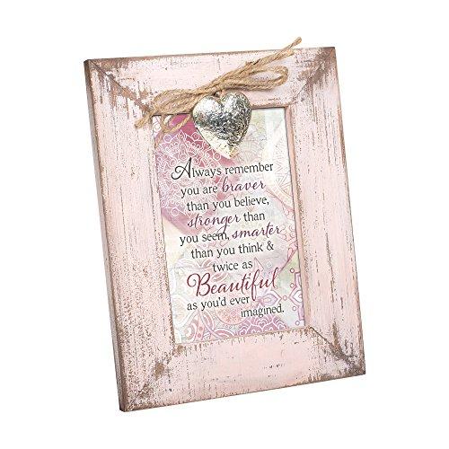 (Cottage Garden Braver Stronger Beautiful Blush Pink Distressed Locket Easel Back Picture Frame)