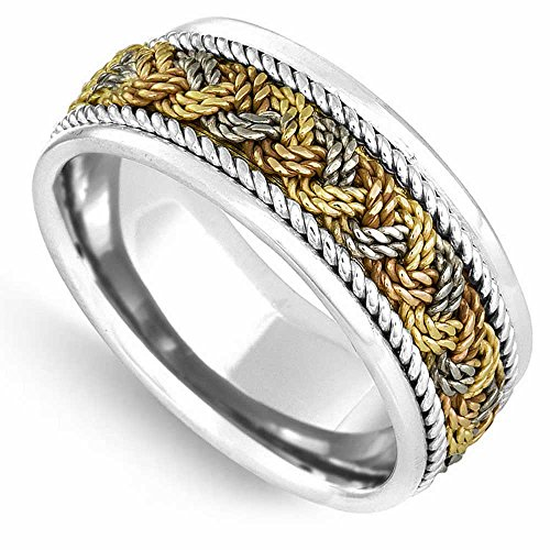 18K Tri Color Gold Braided French Braid Men's Comfort Fit Wedding Band (9mm) Size-16.5c1 ()