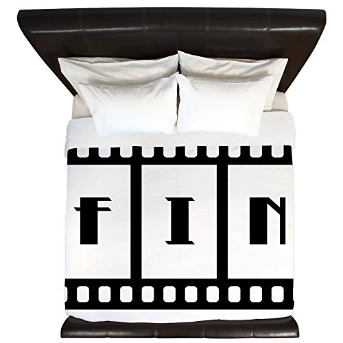 King Duvet Cover FIN: Old Hollywood Movie Ending by Truly Teague