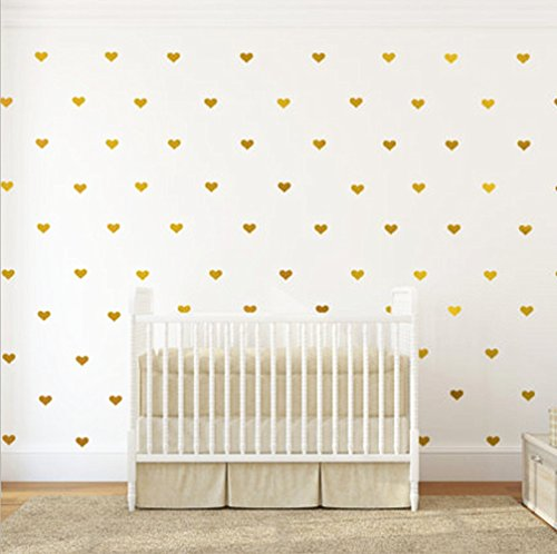 Motishi 130Pcs/1.73'' DIY Golden Heart Wall Decal Vinyl Sticker for Baby Kids Room Nursery Decoration Removable Wall Sticker by Motishi