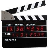 La Chaise Longue Réveil Clap de cinéma Avec fonction date Noir Affichage numérique rouge Ecran LCD 29-C1-086