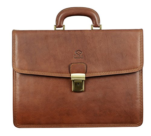 Brown Leather Briefcase Classic Style Laptop Bag Unisex Matt Brown - Time Resistance by Time Resistance