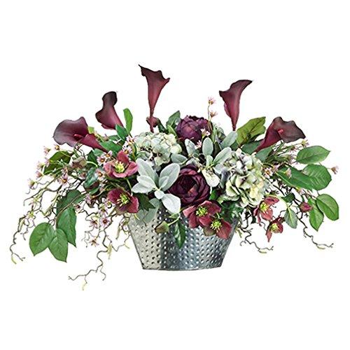 "20""Hx35""W Calla Lily, Rose, Hydrangea & Helleborus Silk Flower Arrangement -Eggplant/Green"