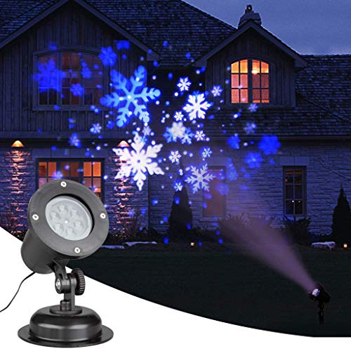 EAMBRITE Christmas Projector Lights LED White/Blue Rotating Snowflake Snowstorm Projector Light with Snowfall for Birthday Wedding Theme Party Garden Home Winter Outdoor Indoor Decor (Blue Christmas Theme White And)