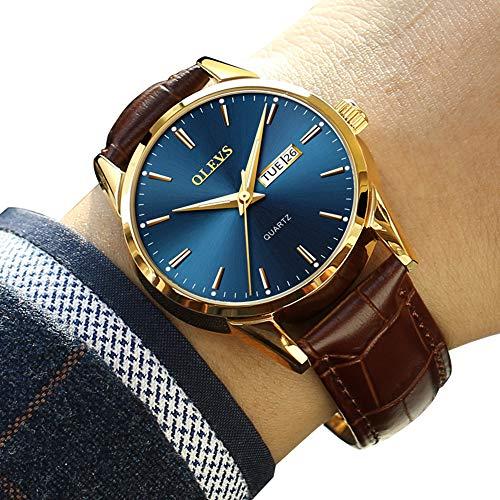 (Mens Watch Blue Face Brown Band,Men's Luxury Date Calendar Wrist Watches,Men Casual Business Dress Watch Waterproof Men Comfortable Leather Belt,Casual Luminous Quartz Watch)