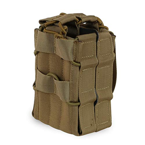 Aoutacc Tactical Mag Pouch, Double Stacking Kangaroo Rifle Magazines Pouch for M4 M14 M16 Magazines (Tan)