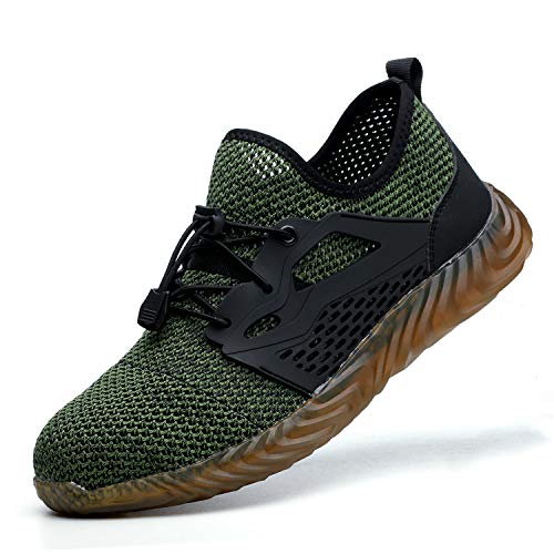 Indestructible Work Shoes Mens Womens, Breathable Safety Steel Toe Athletic Sneakers, Lightweight Construction Carpenter Shoes, 825 Green 45