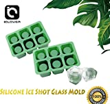 Silicone Shot Glass Ice Mold [2 PACK] IC ICLOVER 6 cups Square Green ice Cube Shot Glass Mold,Chocolate Cookie Candy Mold Tray,Food Grade Oven & Dish Washer Safe (2 PACK GREEN)