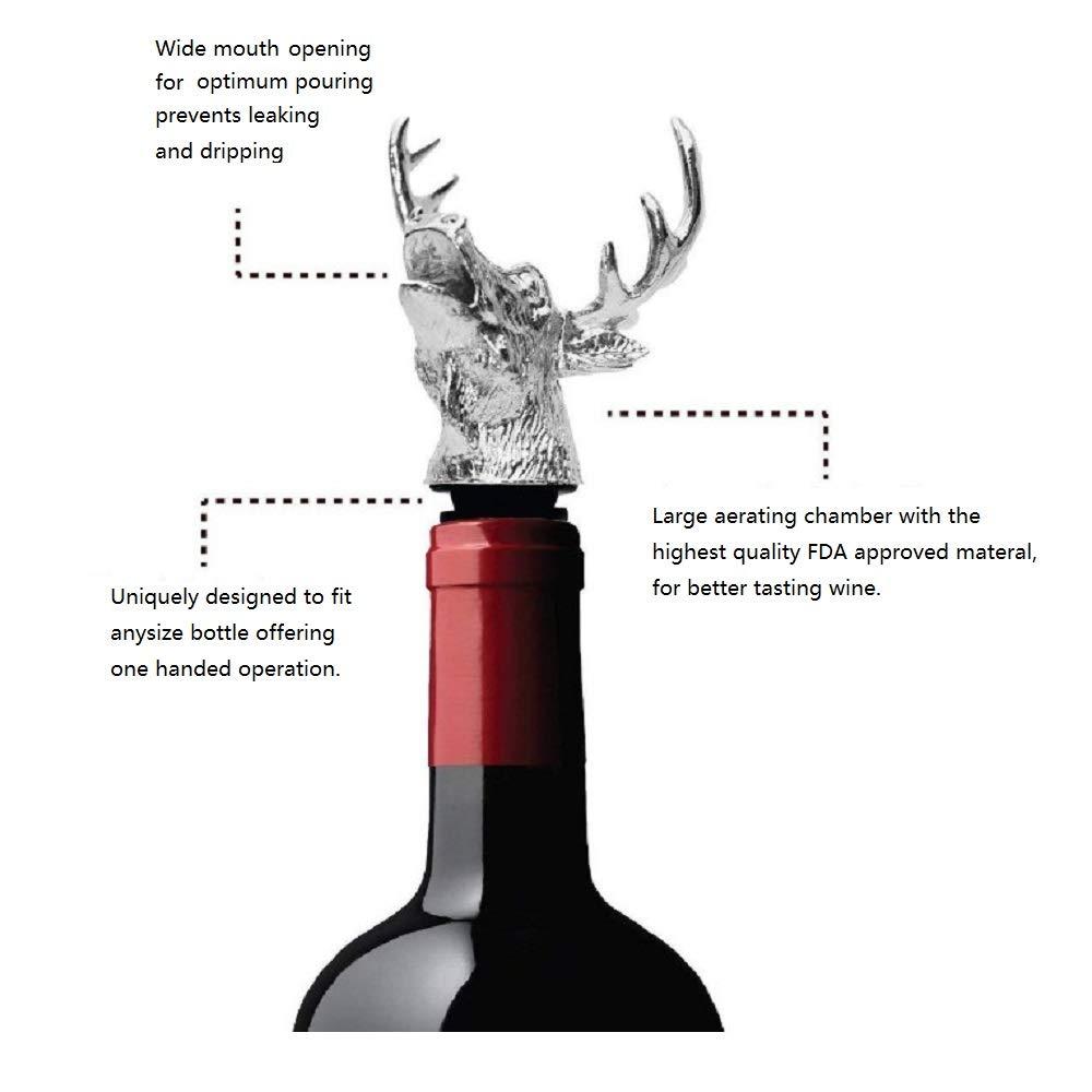 Cerf Verseur en Acier Inoxydable Verseur de Vin Bouteille Drinks Pourer Oil Pourer Bottle Pourer Techrace Stainless Steel Freeflow