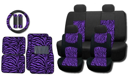purple and zebra seat covers - 4