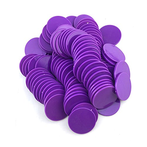 Purple Poker Chip - Smartdealspro Set of 100 1 1/2 Inch Opaque Poker Chips Plastic Learning Counters Game Tokens with Storage Box (Purple)