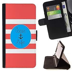 Momo Phone Case / Flip Funda de Cuero Case Cover - La vida color de rosa del ancla Blue Marine - Samsung Galaxy S6 Active G890A