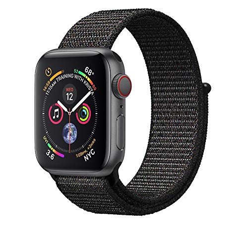 AdMaster Compatible for Apple Watch Band 42mm 44mm, Soft Nylon Sport Loop Replacement Wristband Compatible iWatch Apple Watch Series 4/3/2/1 Black(a Little Pinkish)