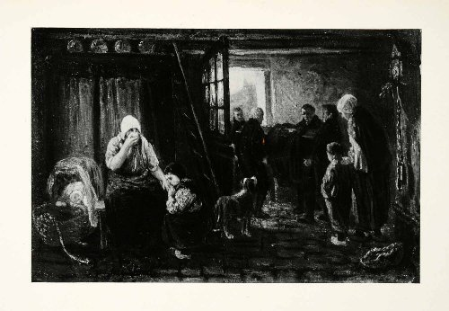 1924 Print Burial Josef Israels Dutch Painter Woman Children Coffin Pall Bearers - Original Halftone Print
