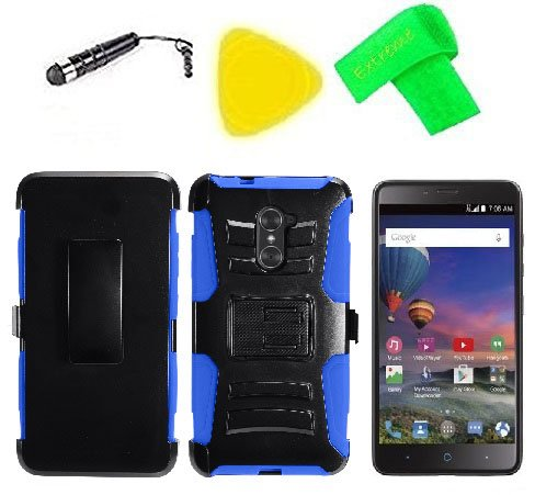 Belt Clip Holster w Phone Cover Case + Screen Protector + Extreme Band + Stylus Pen + Pry Tool For ZTE Max Duo Z962BL Z963VL Z962G Grand X Max 2 Z988 Imperial Max Z963U (Holster Black Blue)