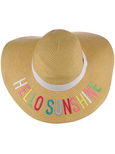(C.C Women's Paper Weaved Crushable Beach Embroidered Quote Floppy Brim Sun Hat, Hello Sunshine in Multicolor)