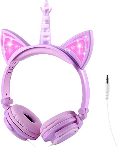 Sunvito Unicorn Headphones for Kids, Foldable Kids Headphones with LED Glowing Light and 3.5mm Jack for School Birthday Gifts Light Purple