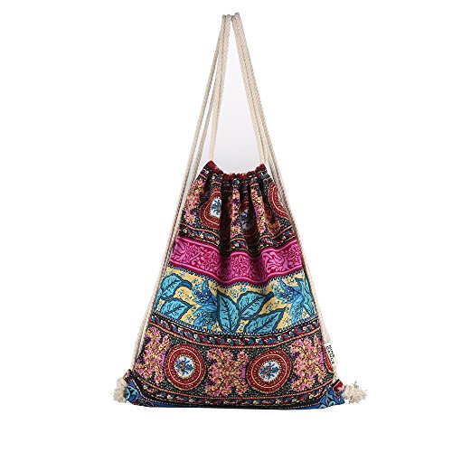 Farway Drawstring Bag Canvas Ethnic Boho Bohemia Style Beach Gym Backpack Outdoor Sport Travel Shopping Unisex Sack Bag (Pattern 3)