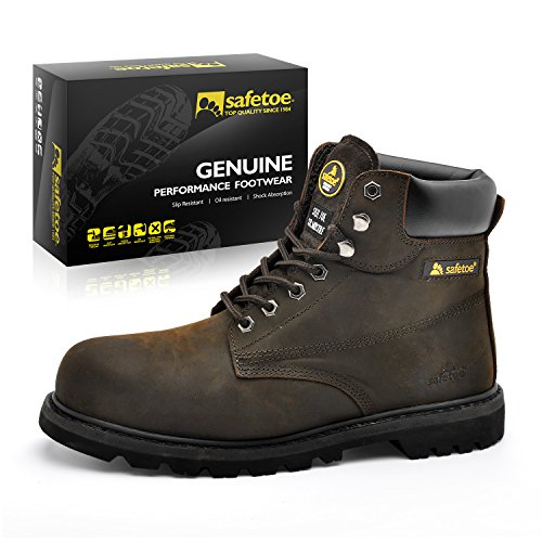 SAFETOE Work Boots For Men Steel Toe Safety Shoes - M8179 Women Leather Wide Width Safety Toe Boots Steel Safety Toe Boot