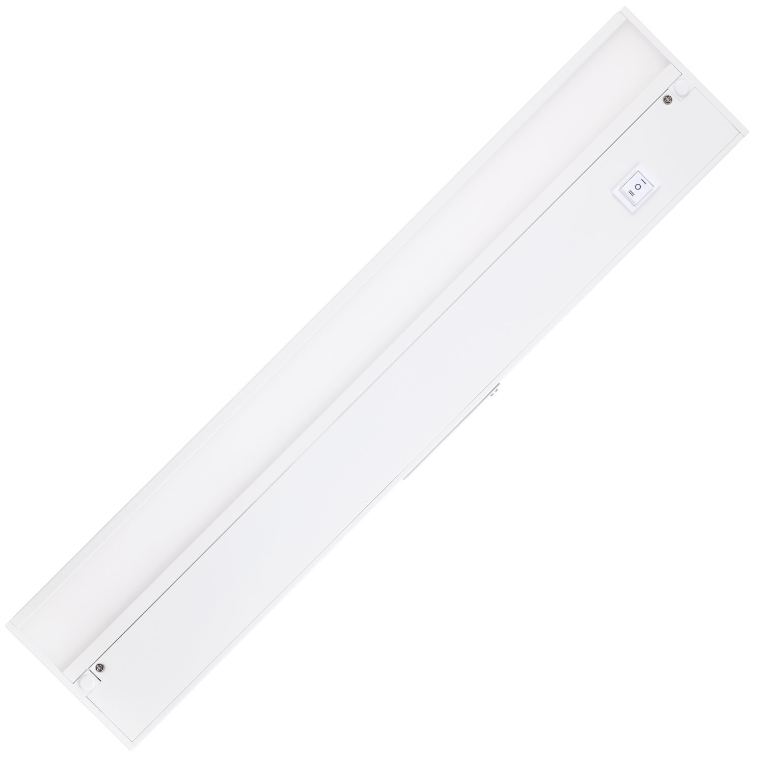 GetInLight Dimmable Hardwired or Plugged-In Under Cabinet LED Lighting with ETL Listed, Edge lit Technology, Soft White(3000k), Matte White Finished, 18 Inch, IN-0201-2-WH