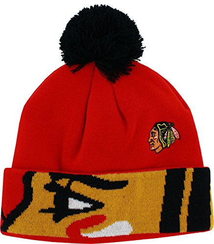 Cap Reebok Embroidered (Chicago Blackhawks Youth 8-20 Reebok Face Off Pom Knit Hat)