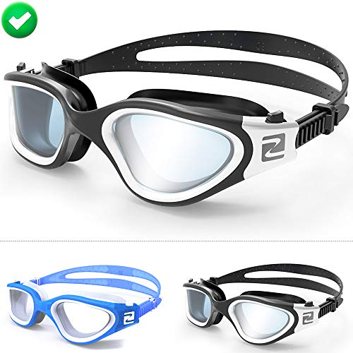 ZABERT Swim Goggles, W1 White Black Smoke Lens Pro Swimming Goggles for Women Men Youth Adult Kids Girls Boys - Clear Lens Anti Fog UV Quick Adjust Large Size Wide View - Indoor Open Water