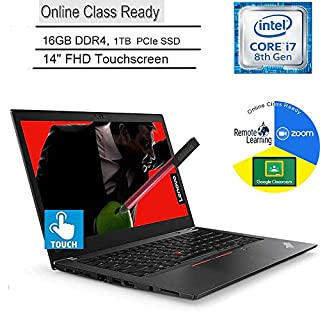 "Lenovo ThinkPad T480s Business Laptop Computer_ Intel Quad-Core i7-8650U_ 16GB DDR4_ 1TB PCIe SSD_ 14"" FHD Touchscreen_ Online Class Ready_ Windows 10 Pro_ BROAGE 3-in-1 Stylus 64GB Flash Drive"