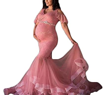 b7fa26519e6fa Ri Yun Women's Lace Maternity Dresses for Baby Shower with Beaded Sash  Mermaid Pregnant Woman Dresses