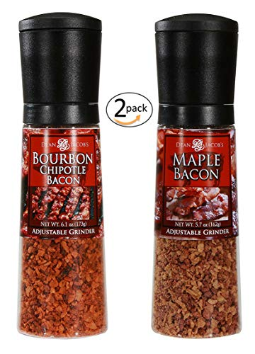Dean Jacob's Bourbon Chipotle Bacon 6.1 oz. and Maple Bacon 5.7 oz - 2 pack jumbo grinders seasoning