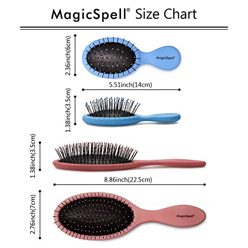 WATCH THE VIDEO! SAVE!!! MagicSpell Brush Pro brush-set for All Hair Types! (Detangles Thin, Fine, Thick, Wet, Curly, and Natural hair) - Reduced Static! - Hair Dryer Safe! (Salmon Pink/Blue) by MagicSpell Brush (Image #4)