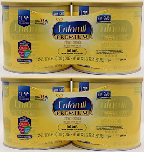 Enfamil Premium Non GMO Infant Formula Milk Based Powder with Iron – 21.1 oz Per Can (packaging may vary) Pack of 4